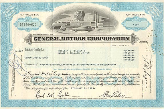General Motors Corporation | Photo courtesy of OldStocks.com