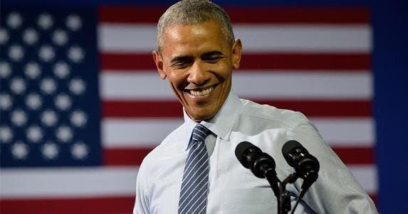 Smiling Obama in podium | Evan El-Amin/Shutterstock.com