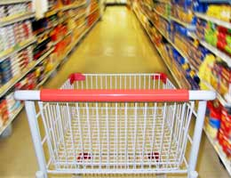 Empty card in a grocery store aisle