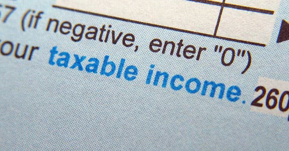 "Close up of ""Taxable income"" on tax form"