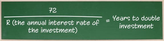72 ÷ R (the annual interest rate of the investment) = Years to double investment