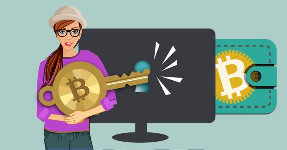 Keys to unlock your bitcoin transaction | Key: © Norwayblue/Shutterstock.com, Woman with hat: © Macrovector/Shutterstock.com, Wallet icon: © Artco/Shutterstock.com