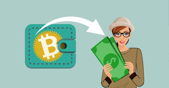 Turning bitcoin back into dollars | Wallet icon: © Artco/Shutterstock.com, Woman with hat: © Macrovector/Shutterstock.com