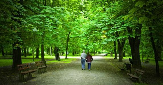Senior couple walking in a park in spring © Dariush M/Shutterstock.com