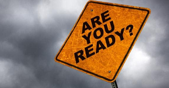 'Are you ready?' yellow sign, in stormy weather © iStock