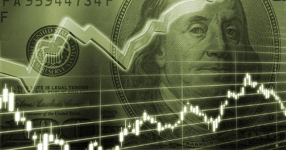 Financial line chart over $100 bill © iStock