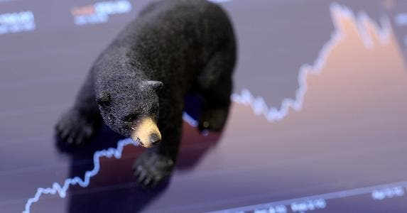 Bear on stock graph © iStock