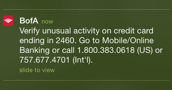 Bank of America unusual activity phone alert