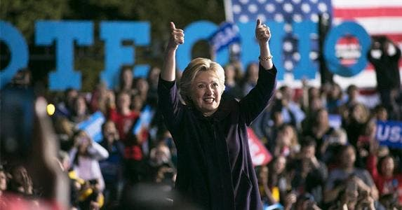 Hillary Clinton giving a 'thumbs up' to the crowd