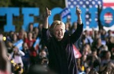 Hillary Clinton two thumbs-up in rally | Maddie McGarvey/Getty Images