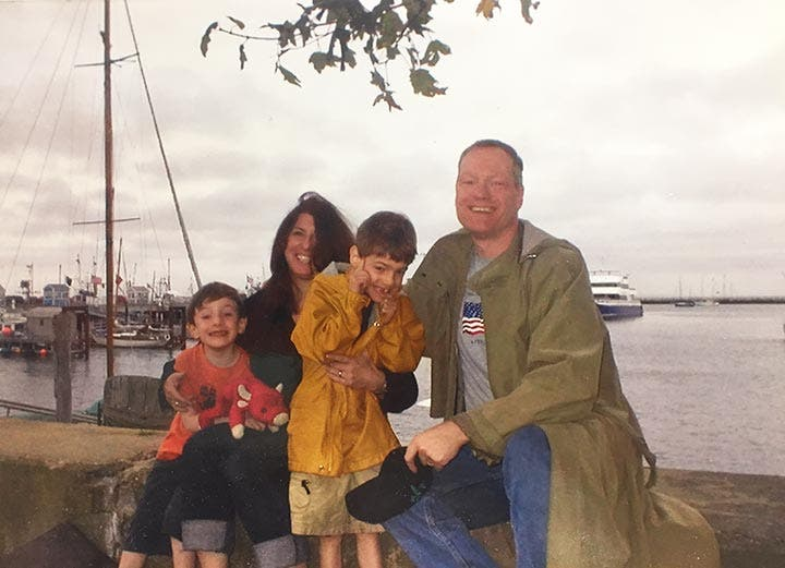The Stimpson-Cornfield clan on MacMillan Pier in Provincetown, Cape Cod.