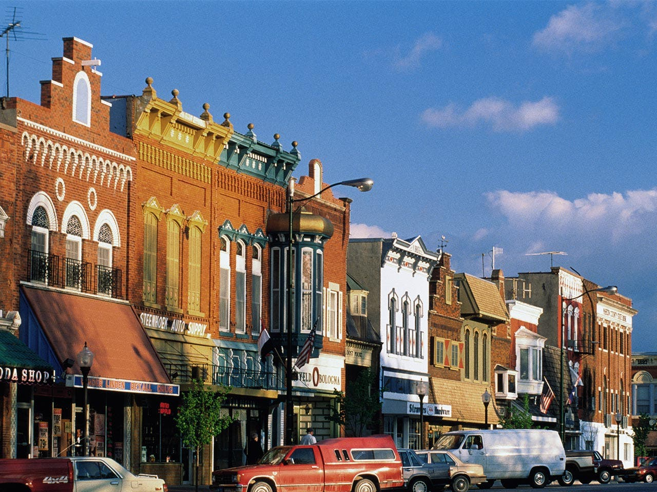 Busy main street in Iowa