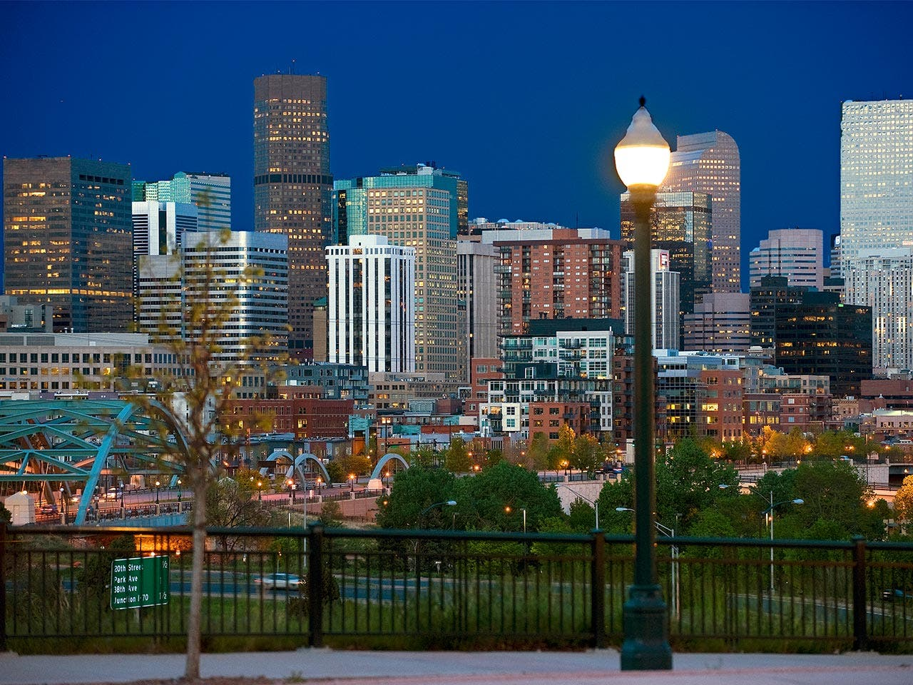 City skyline at night in Colorado