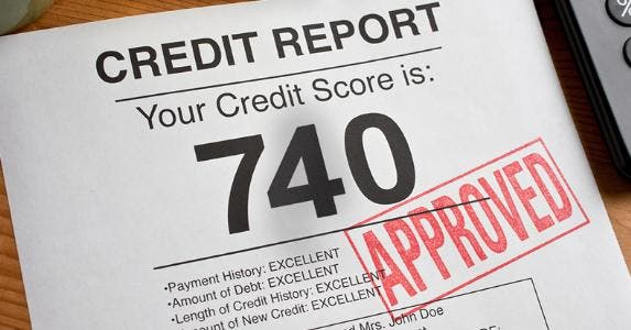 Credit report with score of 740