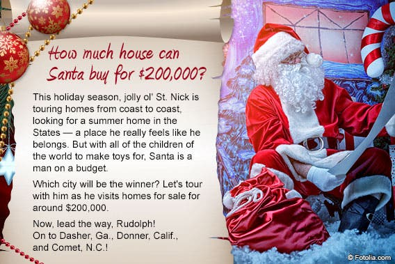 How much house can Santa buy for $200,000?