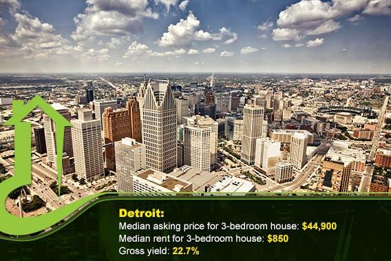 Detroit © Andrey Bayda/Shutterstock.com, vector: © tachyglossus/Shutterstock.com, bottom overlay: © Sorbis/Shutterstock.com