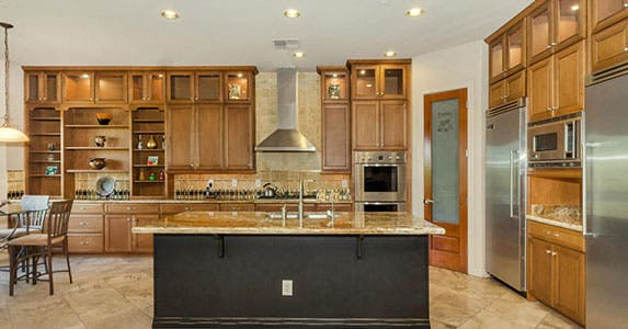 Kitchen with light-colored cabinets