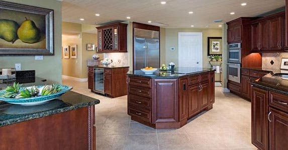 Open kitchen with custom cabinets