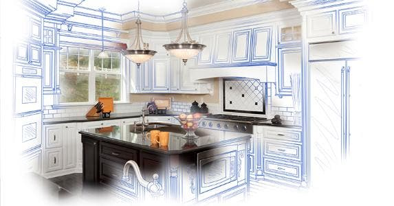 Custom kitchen design and drawing combination © iStock