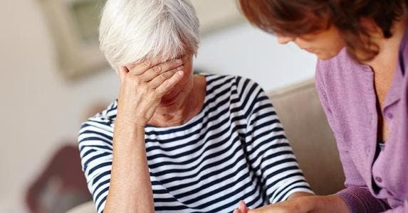 Senior woman in pain, stressed © iStock