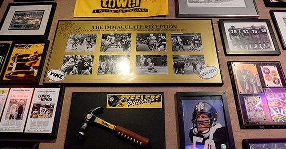 Sports memorabilia on a wall