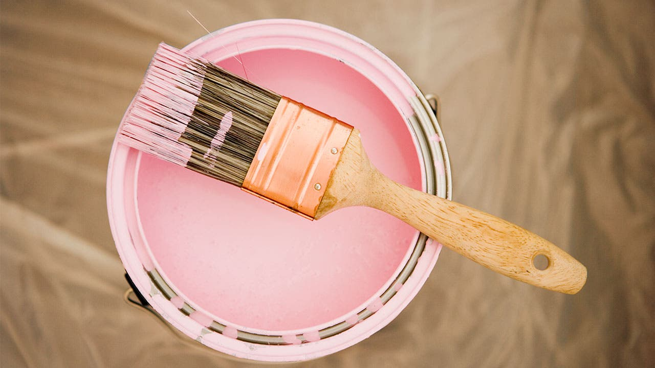 Can of pink paint