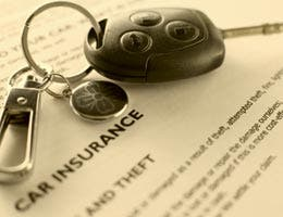 Car insurance form and car keys