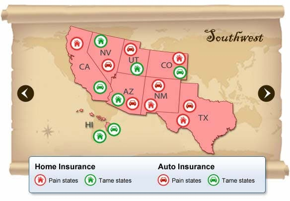 Southwest States With Highest Insurance Rates