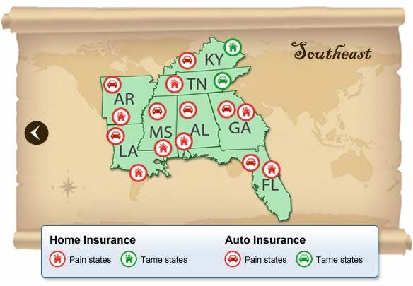Southeast States With Highest Insurance Rates