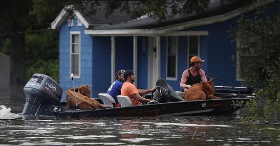 Louisiana flood victims on boat | Joe Raedle/Getty Images
