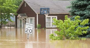 Flooded neighborhood speed limit sign and trees submerged © Tony Campbell/Shutterstock.com