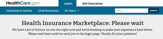 Delay message on HealthCare.gov