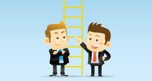 Ladder standing between cartoon characters Lou and Stan © Ziven/Shutterstock.com