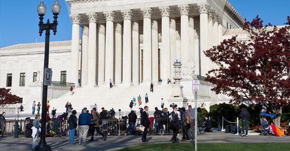 Activists in front of US Supreme Court
