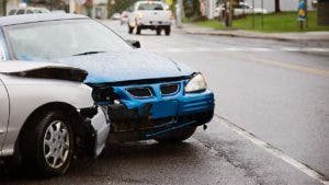 Photo of two cars in a front-end collision accident