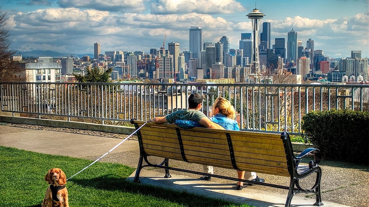 Couple sits on bench looking at Seattle skyline
