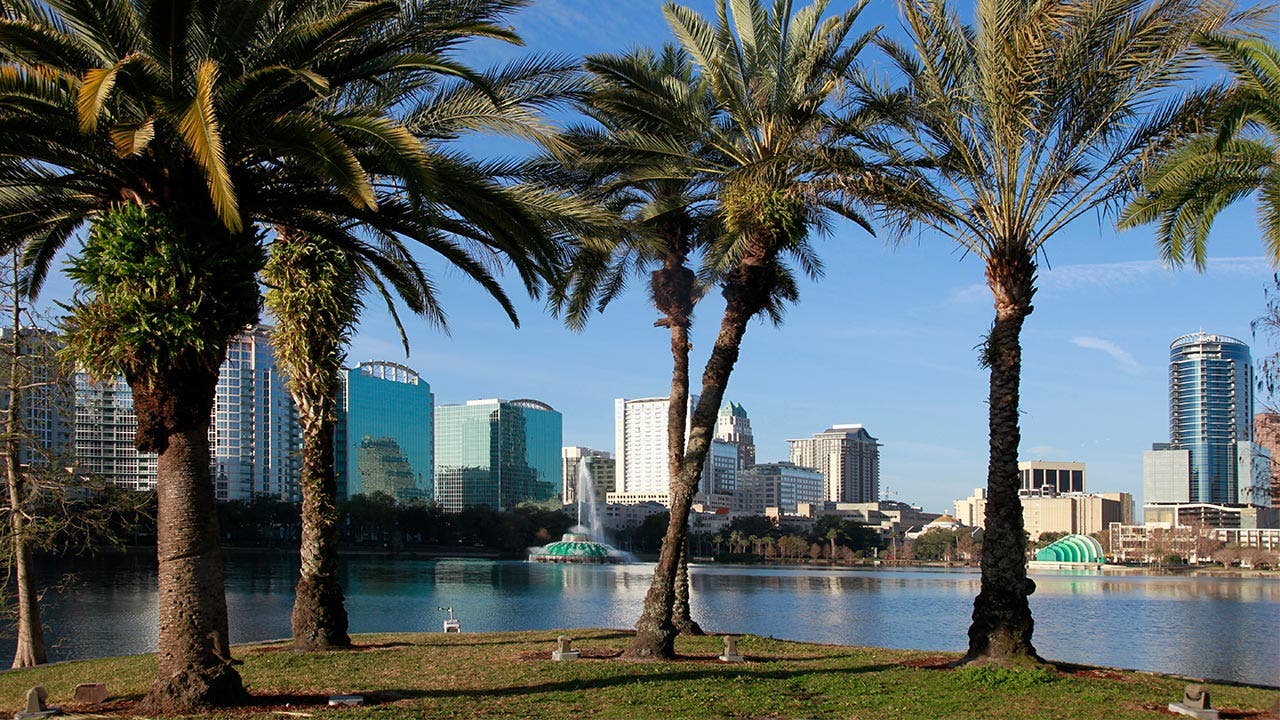 Orlando, Florida skyline and palm trees