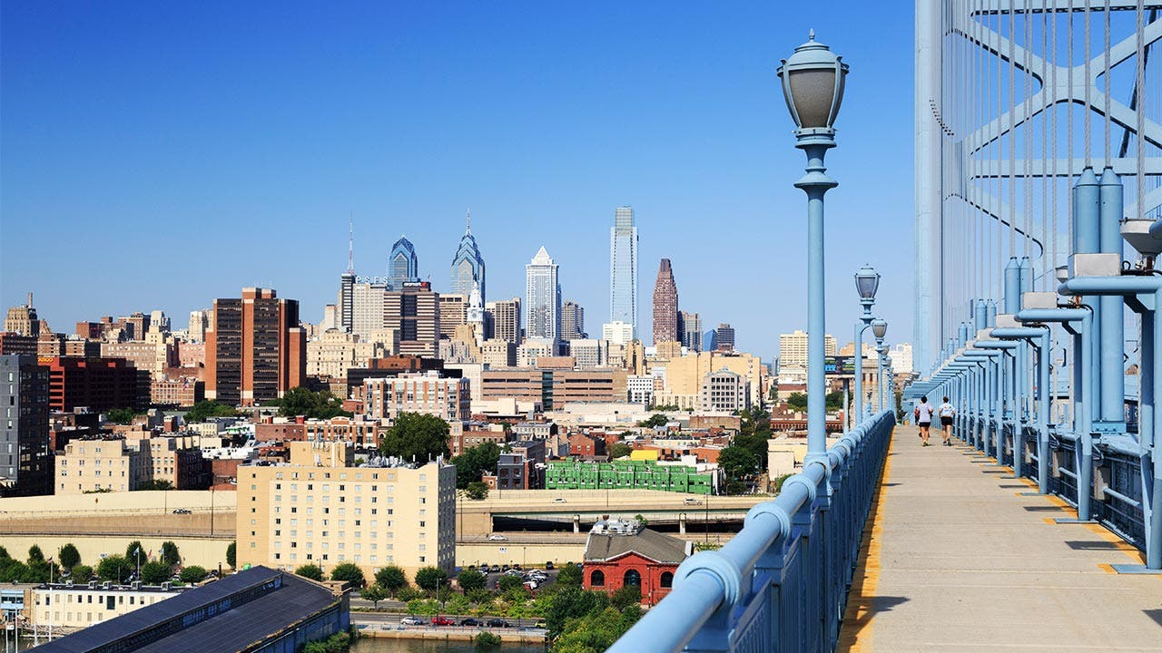 Philadelphia bridge and city