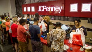 Shoppers checking out at JCPenny