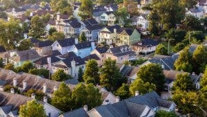 Birds-eye view of houses in a neighborhood