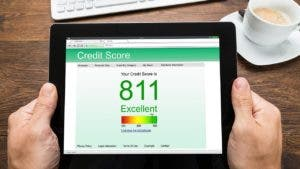 Credit score on computer screen