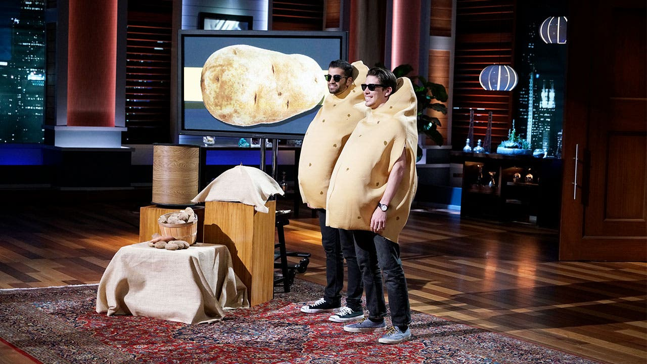 "Contestants showing off an invention on ""Shark Tank"""