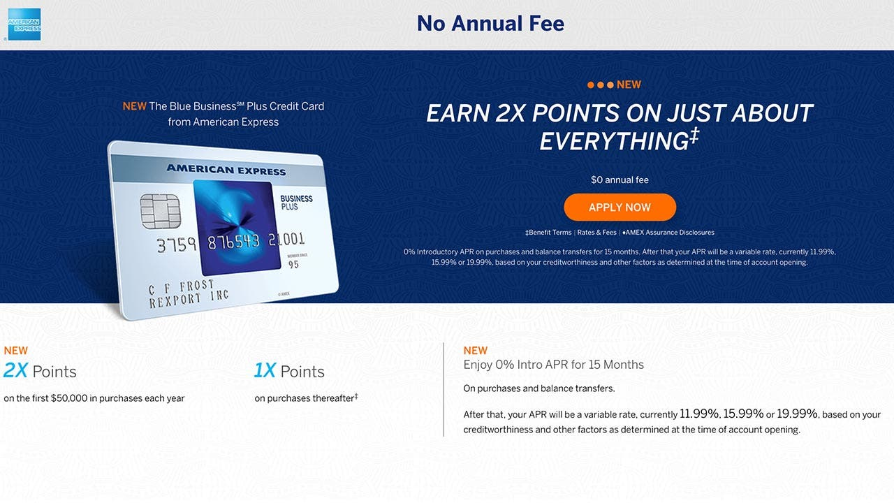 Blue business plus credit card makes a first of its kind offer for Amex business credit cards