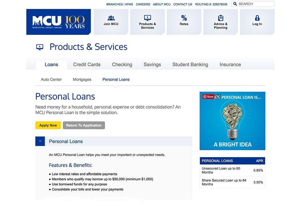 Municipal credit union personal loans 2018 comprehensive review reheart Images