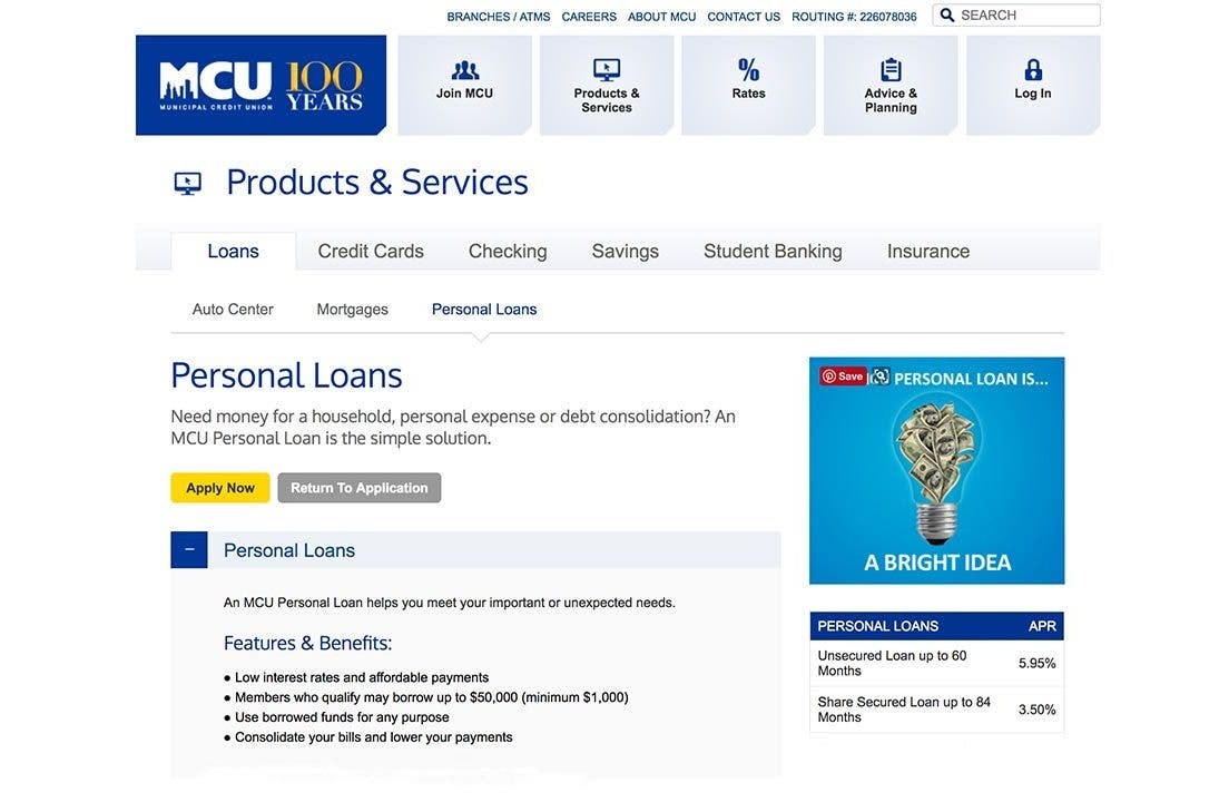 Municipal Credit Union Personal Loans: 2019 Comprehensive