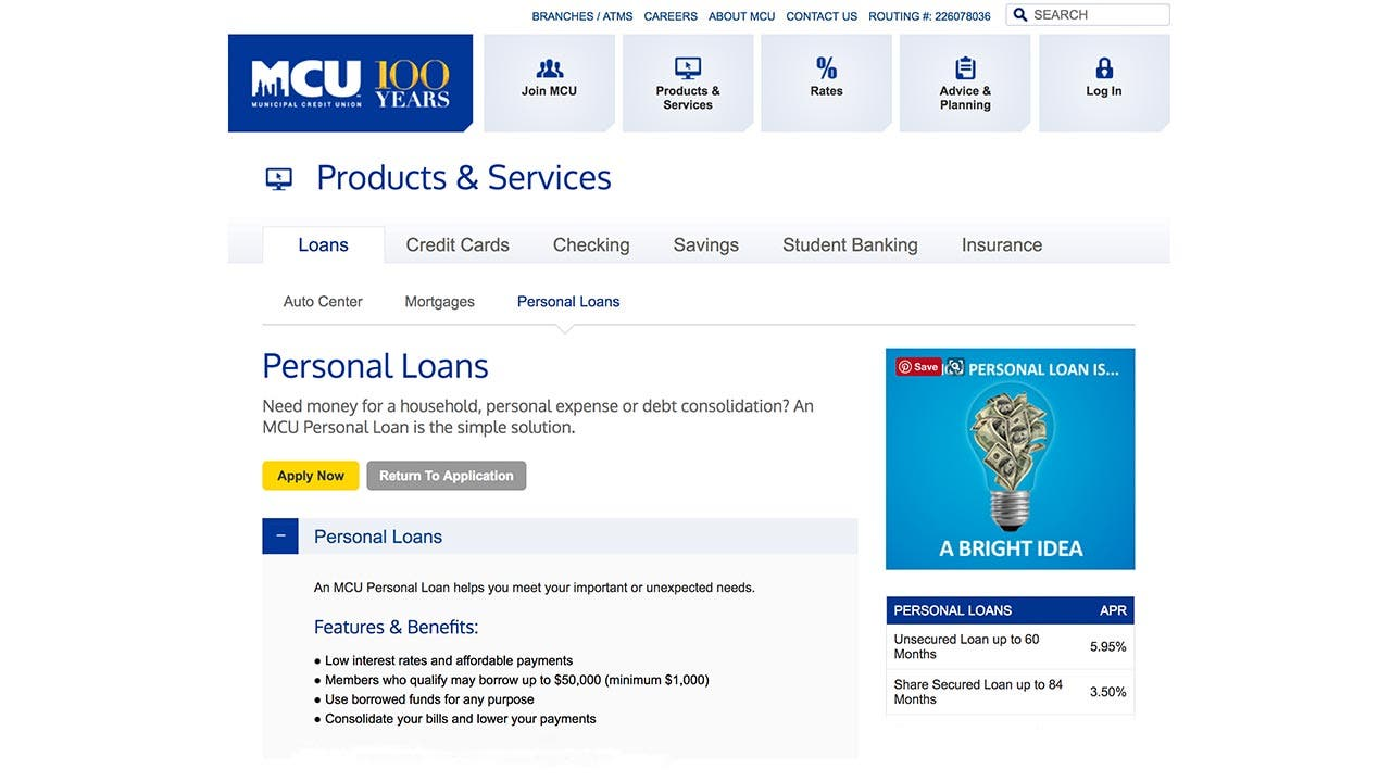 Spot Loan Reviews >> Municipal Credit Union Personal Loans 2019 Comprehensive