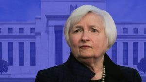 Janet Yellen and the Federal Reserve building
