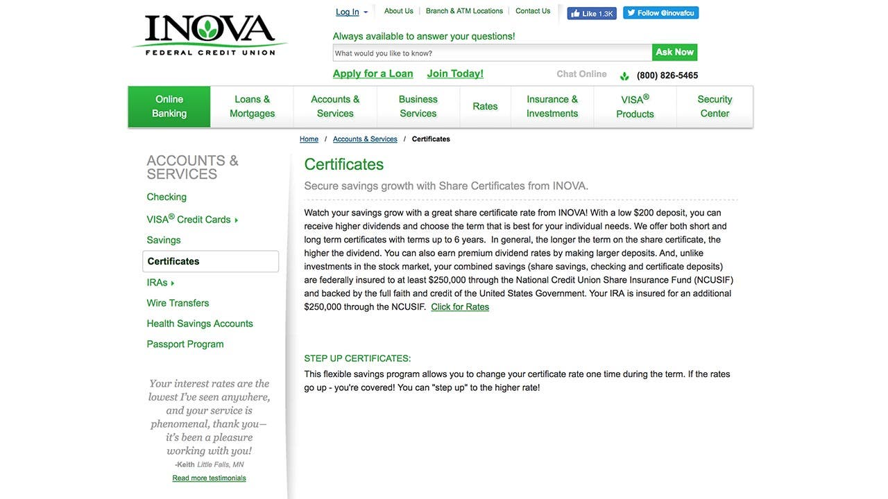 INOVA Federal Credit Union website