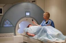 Patient undergoing an MRI