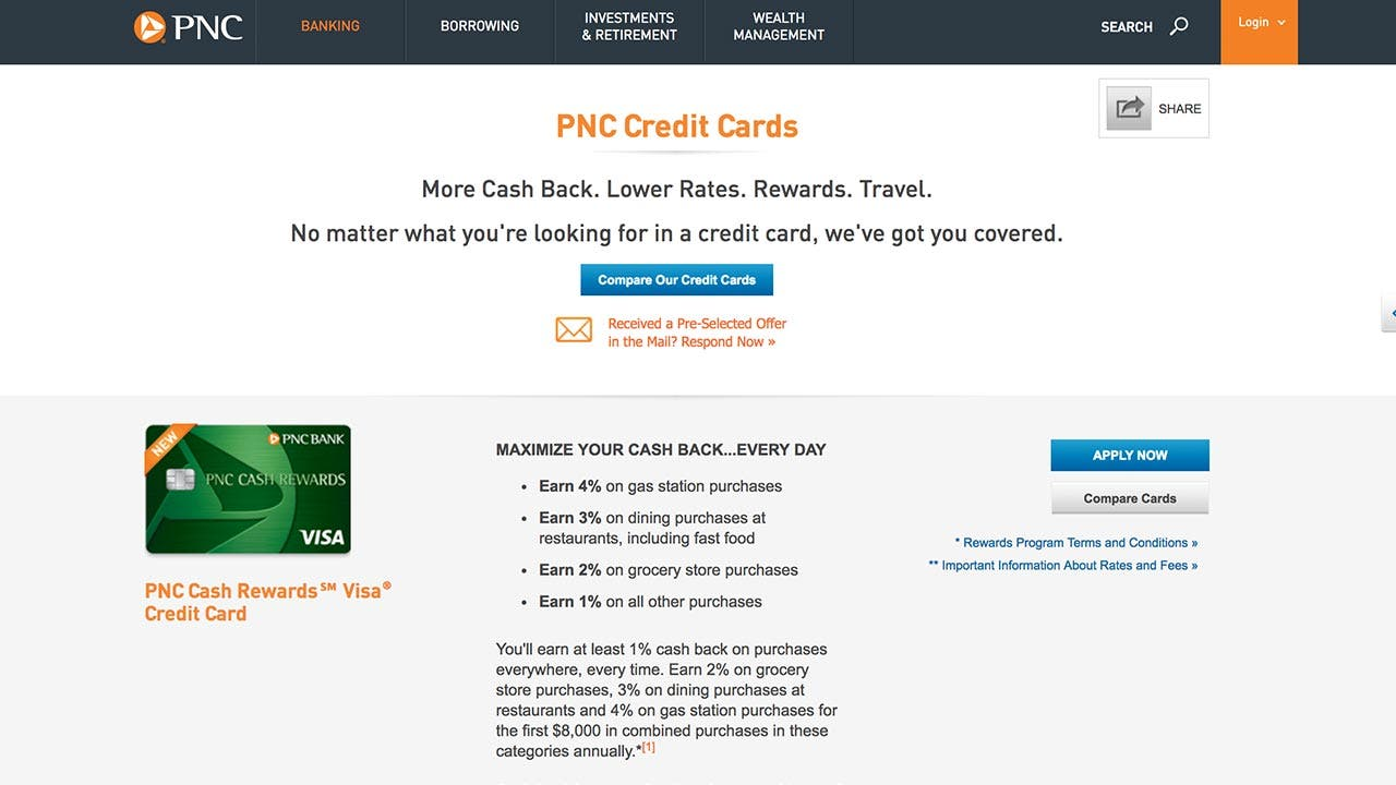 PNC Cash Rewards Visa page